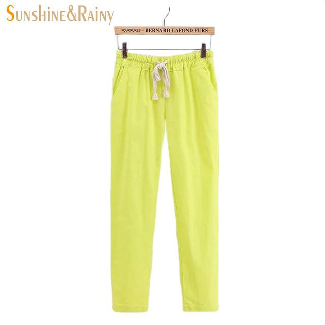 2016 Forestal Japonesa estilo femenino de verano ocio pantalones 11 colores del caramelo de bolsillo cordón cómodo pantalones pantimedias mujer xxl