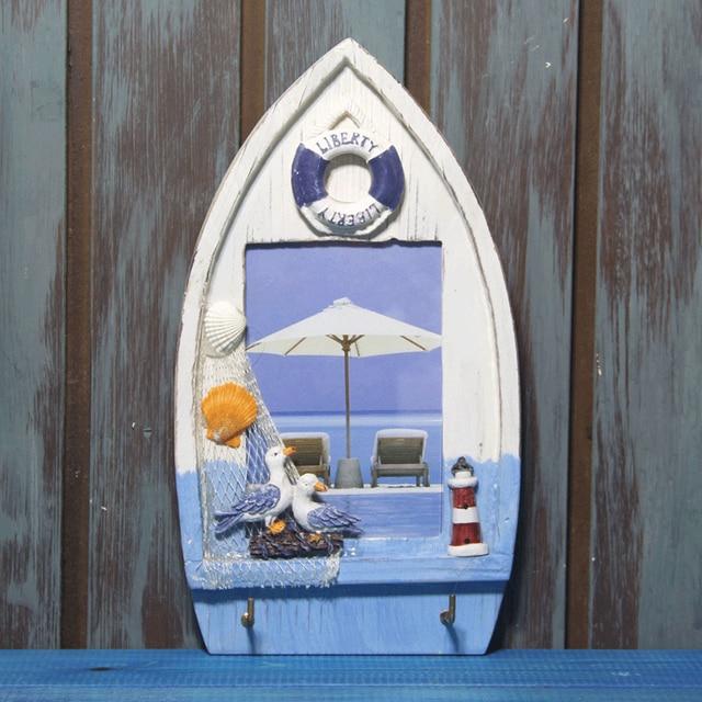 Barco barco mediterráneo marco de madera frame artesanías regalo de ...