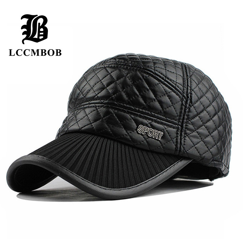 wholesale fashion high quality leather cap fall warm winter ear flaps hat casual baseball for men women with fle