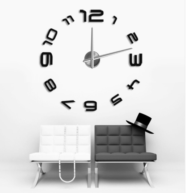*2017 3D Acrylic Creative Mirror Wall Stickers DIY Quiet Wall Clock Super  Quartz Movement Clock