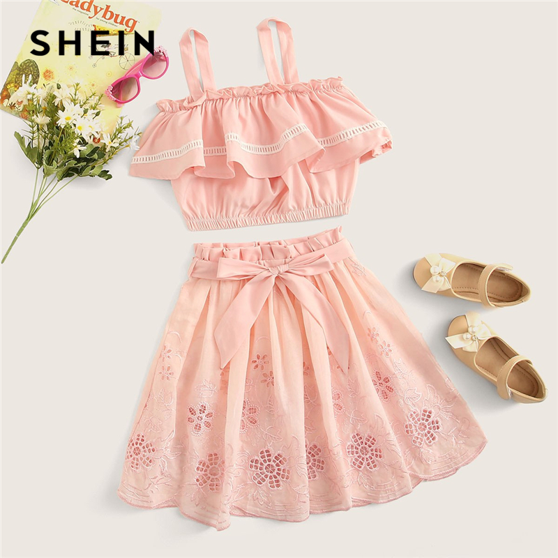SHEIN Kiddie Pink Tank Top And Belted Waist Embroidery Eyelet Skirt Cute Two Piece Set 2019 Summer Ruffle Boho Children Outfits