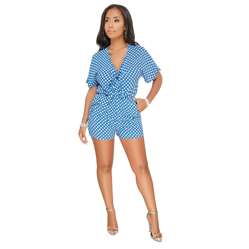 Polka Dots Print Front Tie 2018 Summer Beach Playsuits Sexy V Neck Short Sleeve Women Rompers Shorts Plus Size Jumpsuits S-3XL