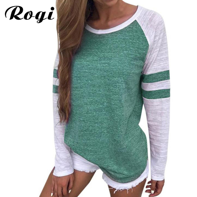 d9160686ef Rogi Women Blouses 2019 Summer Casual Long Sleeve Striped Shirt Women Tops  Basic Tees Patchwork Clothing Blusas Camisetas Mujer