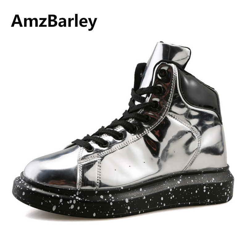 AmzBarley Men Shoes Flats Hip Hop Shoe Silver PU Leather High Top Lace Up Casual Sapatos Couro Masculino Fashion Luxury casual dancing sneakers hip hop shoes high top casual shoes men patent leather flat shoes zapatillas deportivas hombre 61