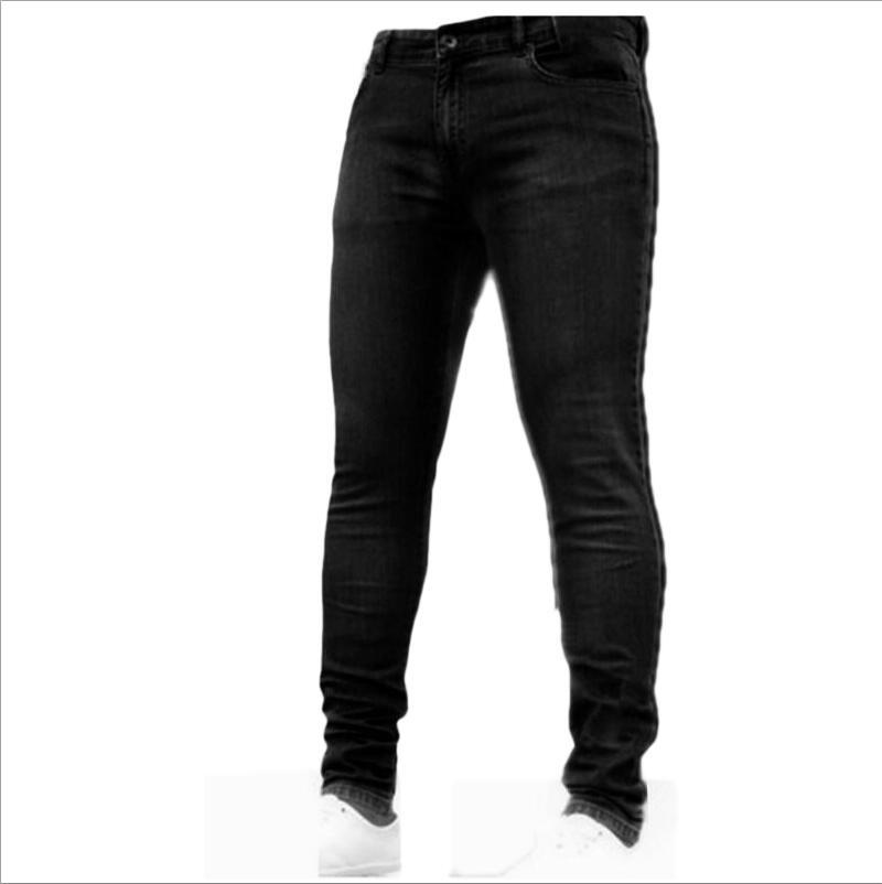Новинка, мужские джинсы-карандаш, Модные мужские повседневные узкие прямые Стрейчевые узкие джинсы на молнии для мужчин,, брюки - Цвет: Black
