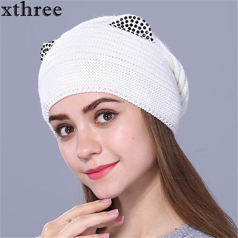 Xthree vlněná pletená čepice ženy teplá gravitace padá čepice módní tlusté čepice pro dívky roztomilé koťátko lebky gorry