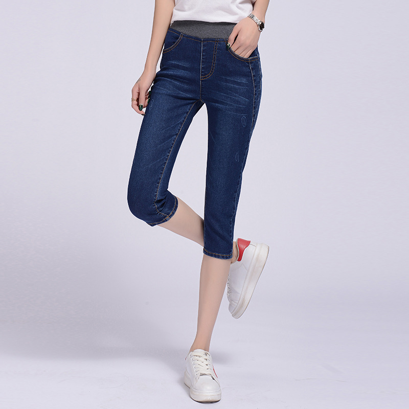 WKOUD Plus Size Jeans Pants For Women Summer Capris Jeans High Waist Stretch Washed Denim Pants Skinny Jean Trousers P9074 image