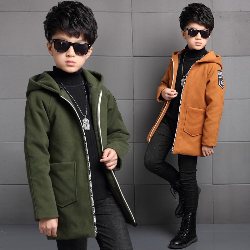 2019 новая детская одежда зимнее шерстяное пальто для мальчиков плотное шерстяное пальто в Корейском стиле для больших мальчиков