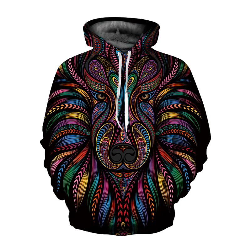 2019 Hot Sale Fashion Hoodies Animals Dots Lion 3D Printed Men/Women Hoodie Men Sweatshirt Men Streetwear Male Hooded Mantle
