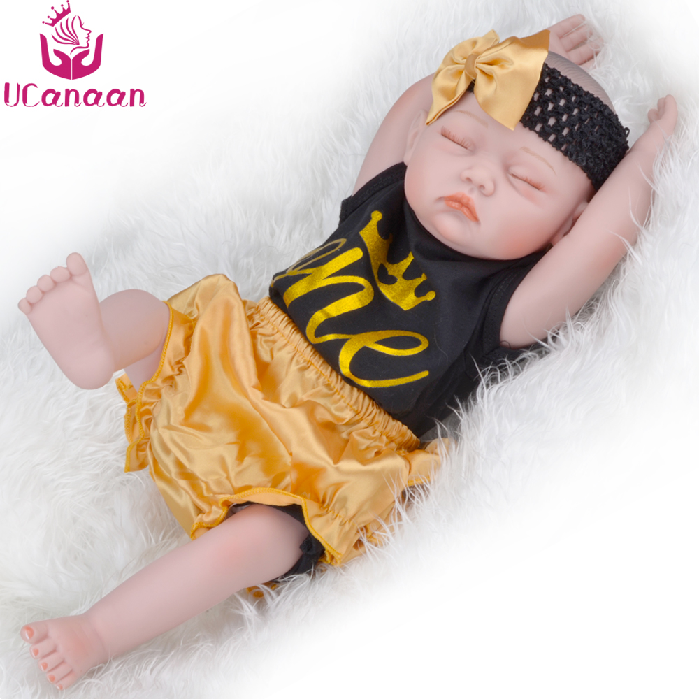 UCanaan 20''/ 50CM Silicone Body Sleep Girl Doll Reborn Baby Alive New Born Dolls For Children Kawaii Kids Toys Chirstmas Gifts