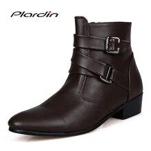 Plardin/Новый модные, с ремешком с пряжкой, зимние рыцарские сапоги Для мужчин украшения из металла острый носок обувь на квадратном каблуке сапоги на подъеме