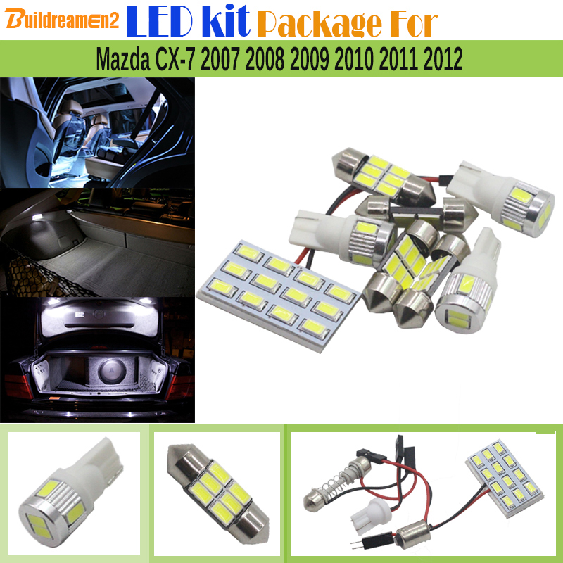 Buildreamen2 Car 5630 LED Kit Package Interior LED Lamp White Auto Map Dome Trunk License Plate Light For Mazda CX-7 2007-2012 2pcs car led license plate light 12v white smd3528 led number plate lamp bulb kit for mazda 6 03 cx 5 13 cx 7 07 accessories