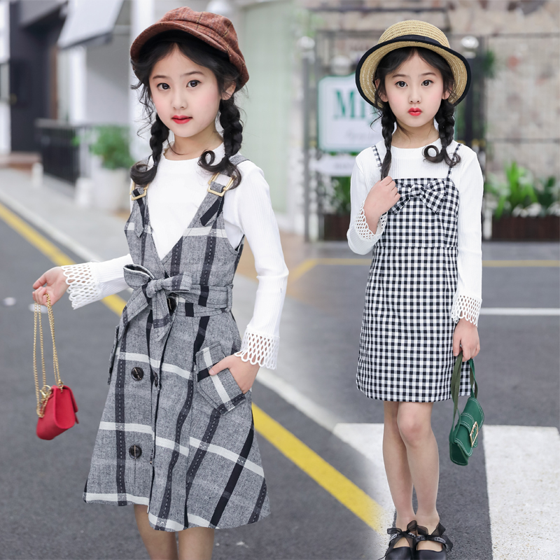 Teenage Girls Fashion Clothes Set 2018 Autumn Long Sleeve Sweatshirt + Plaid Overall Skirt 2pcs School Toddler Girl Clothing 12 round neck long sleeve 3d coins print sweatshirt