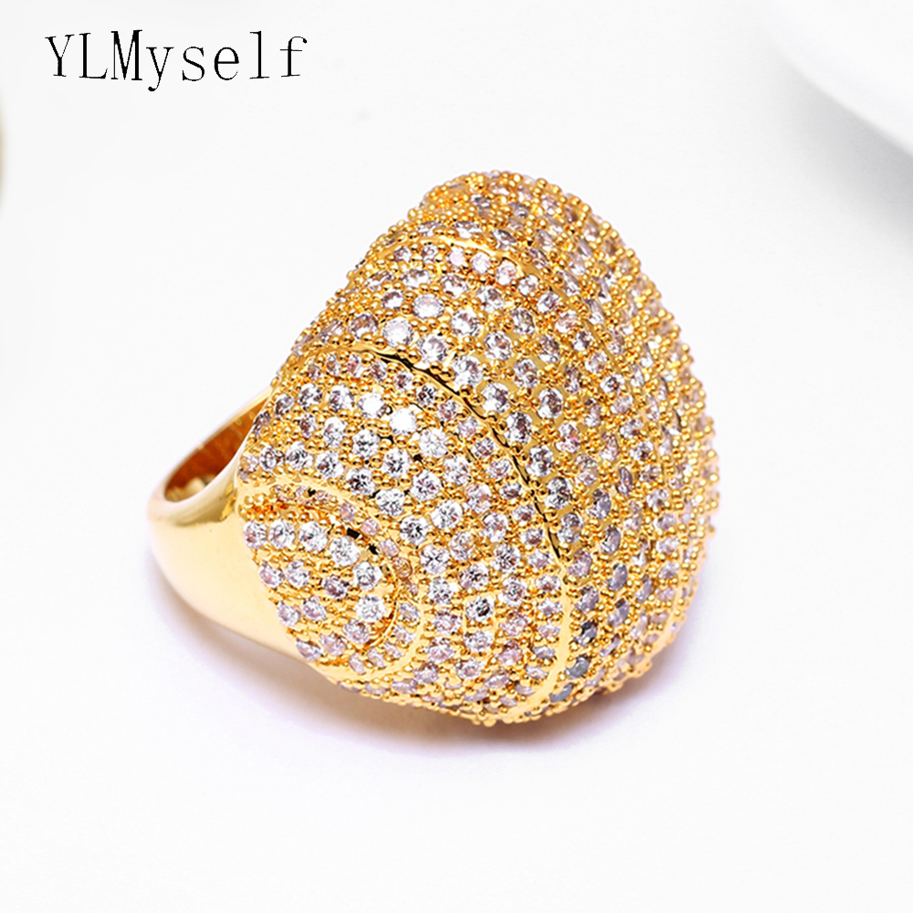 High quality Full stones big ring setting full crystal stones  jewelry Gold/White color bontique jewellery luxury large rings-in Rings from Jewelry & Accessories    1