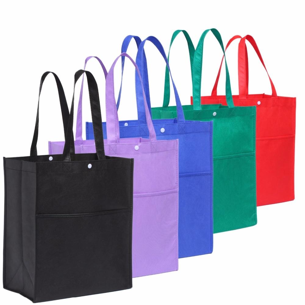 5pcs/lot Bag Wholesale Eco Shopping Bag Reusable Cloth Fabric Grocery Packing Recyclable Hight Design Healthy Tote Handbag reusable cotton linen eco friendly shopping bag grocery tote shoulder handbag
