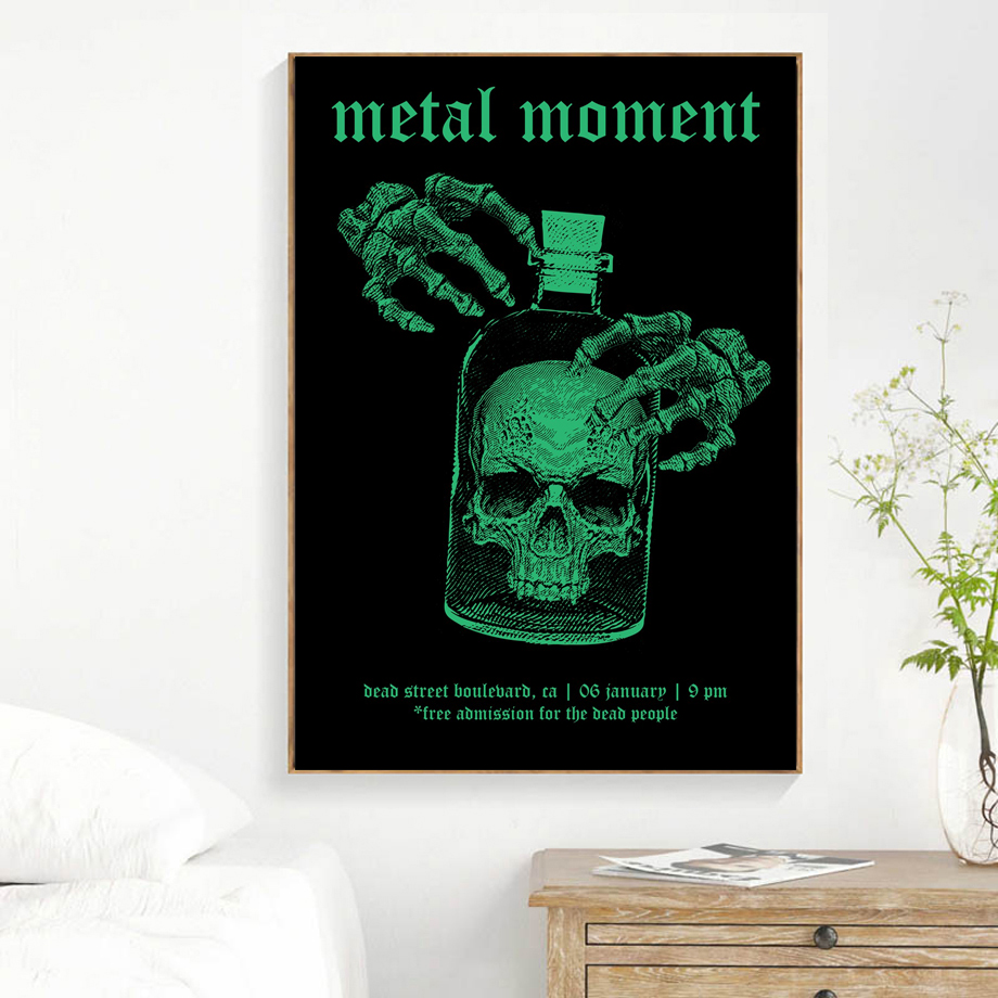 Heavy Metal Rock Skull Vintage Posters And Prints Pop Wall Art Canvas Painting Wall Pictures For Cabaret Ktv Karaoke Bar Decor in Painting Calligraphy from Home Garden