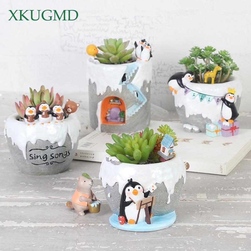 Cartoon Antarctic Penguins Series Succulents Flower Pot Gardening Planters Cactus Succulent Flower Home Decoration Pen Holder