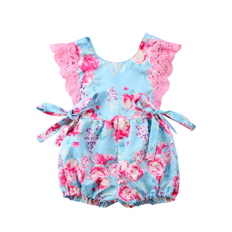 Princess Kids Girls Bowknot Lace Romper Jumpsuit Clothing Toddler Baby Girl Newborn Floral Sleeveless Rompers Sunsuit Clothes