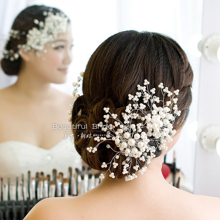 Wedding/Bridal/Bridesmaid Hair Accessories Handmade beaded Woman Pearls Flower Headdress White - Weddings & Events Collection store