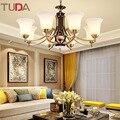 TUDA светодиодная Люстра для гостинной  для учебы  матовое стекло  американский нефрит  медная люстра  Керамическая люстра E27 110V 220V