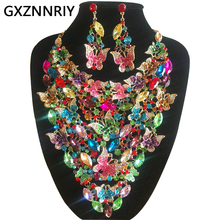 Butterfly Crystal Bridal Jewelry Sets for Women Rhinestone Wedding Gold Necklace and Earrings Set Party Jewellery Sets Gifts