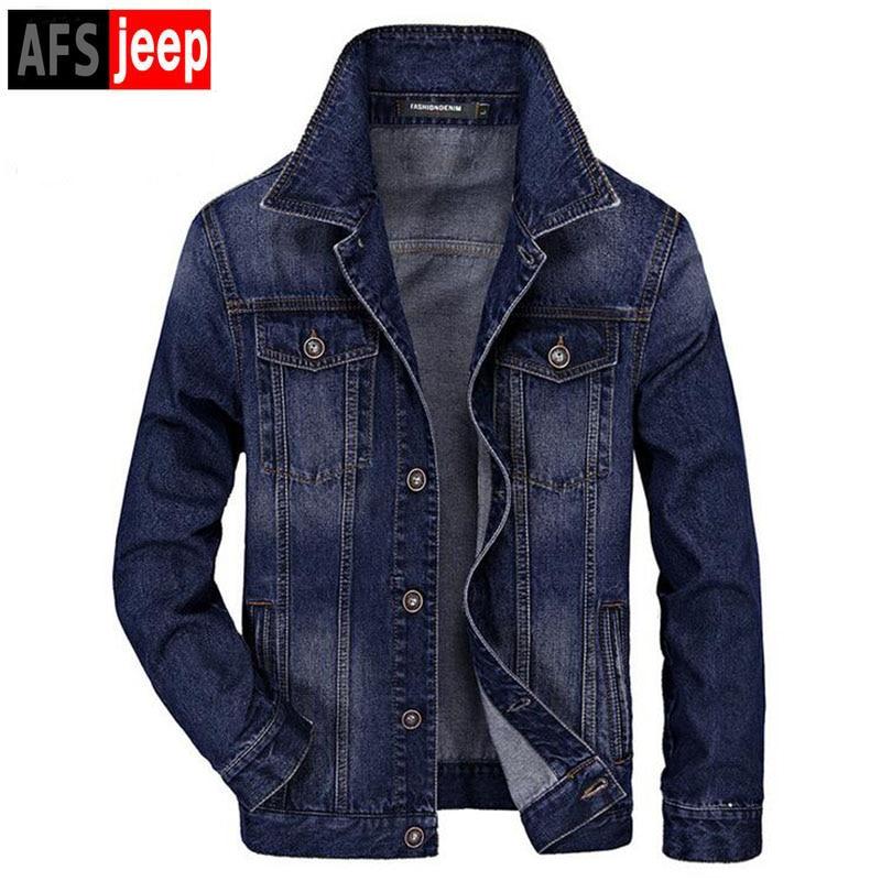 HOT! Brand AFS JEEP Men Wild Cowboy Street Jacket High Quality Men's Western Denim Jacket Fashion Casual Plus Size M-3XL Coat