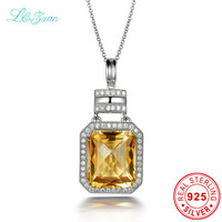 L Zuan Natural 9 63ct Citrine Yellow Luxury Romantic Pendant 925 Sterling Necklace For Women Sterling