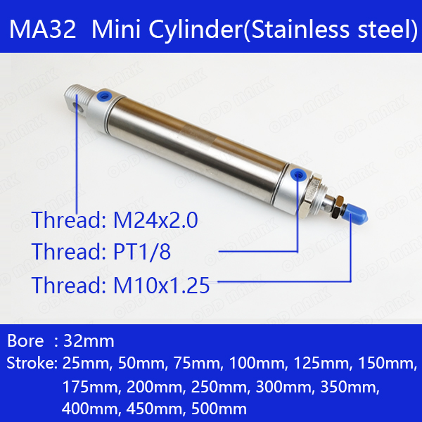Free shipping Pneumatic Stainless Air Cylinder 32MM Bore ,Double Action Mini Round Cylinders MA32x100-CA-S, MA32x50-CA-S ect.Free shipping Pneumatic Stainless Air Cylinder 32MM Bore ,Double Action Mini Round Cylinders MA32x100-CA-S, MA32x50-CA-S ect.