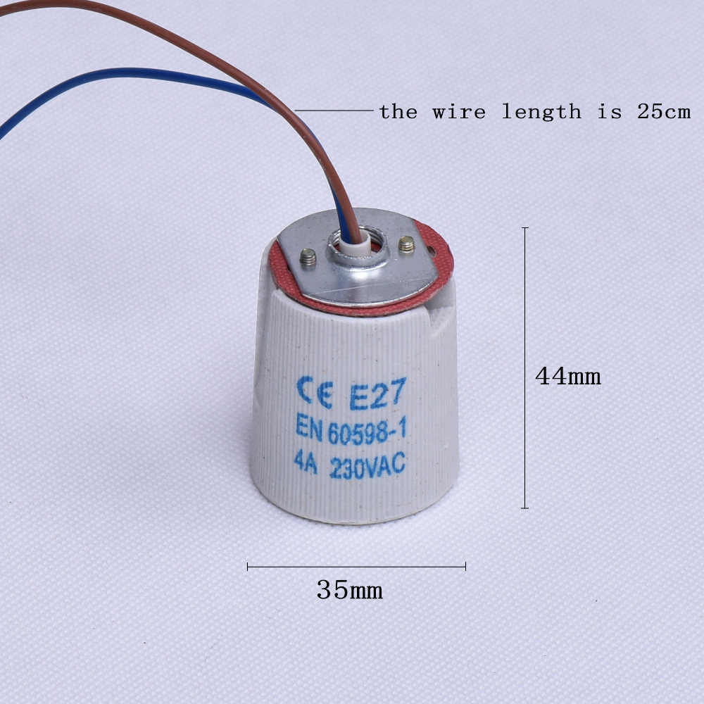 10PCS/Lot E27 Lamp Bases Ceramic Screw Bulb Socket with Wire Cable High Temperature Lamp Holder Chandelier Base Good Quality