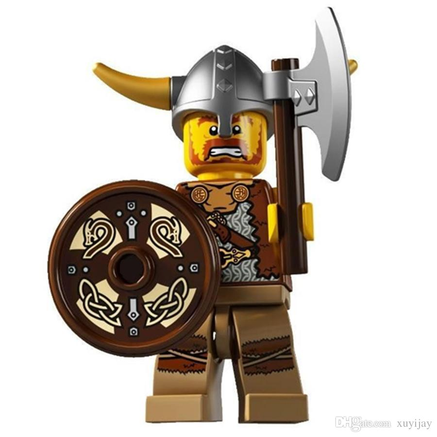 Single Sale SERIES 4 VIKING WARRIOR With Shield SUPER HEROES Minifig Assemble MODEL Building Blocks Bricks Kids Toy Gifts