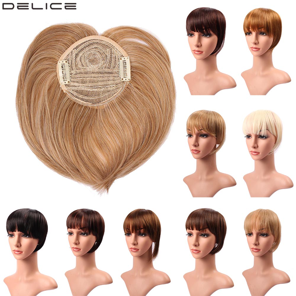DELICE Women's Clip In Straight Neat Bangs Synthetic Blunt Fringe Hair Accessories