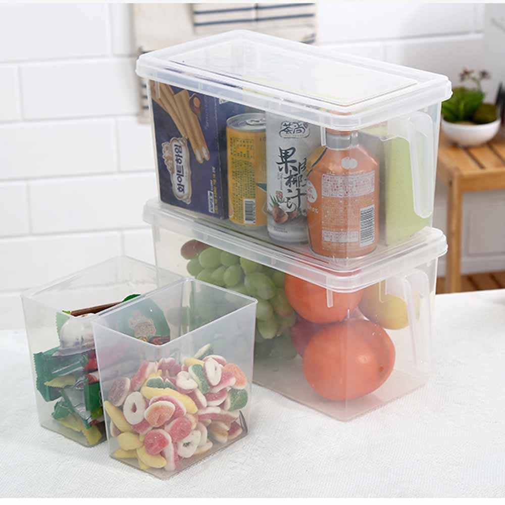 Plus Capacity Kitchen Storage Organizer fridge Sealed food container transparent dustproof Box Cans with ear non-slip