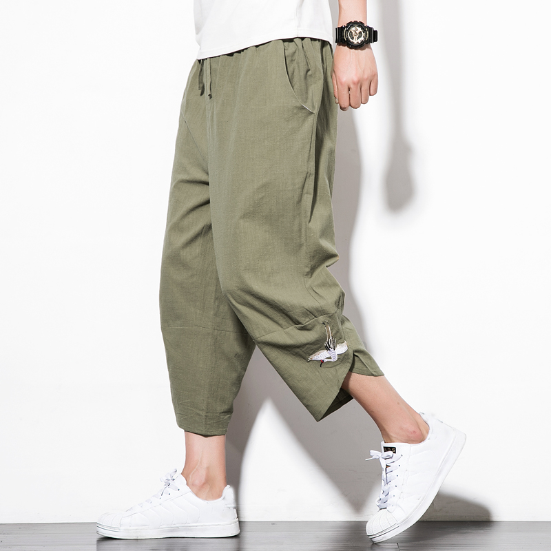 FFXZSJ brand Mens 2018 New Harem Pants Male Summer Casual Calf Length Pants Man White Crane Embroidery Loose Bloomers