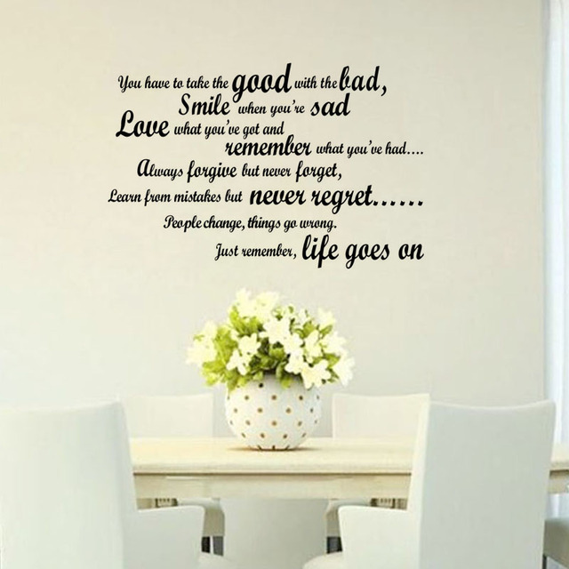Life Goes On Wall Stickers Quotes Vinyl Art Decals Inspiring Text