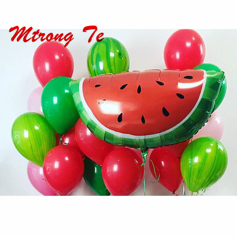 21pcs Hot Summer Luau Party Supplies Watermelon Fruit Marble Round Latex Party Wedding Birthday Decorate Balloon 10