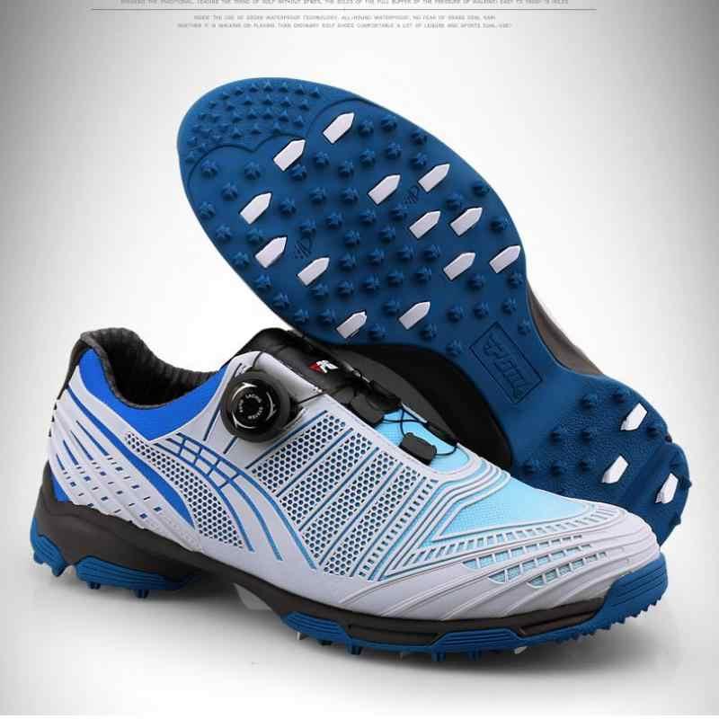Zapatos de Golf hombres perillas transpirables comodidad primera capa de cuero impermeable antideslizante buen agarre cordones de zapatos profesional tela de algodón