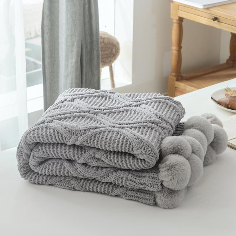 Knitted Decorative Throw Blanket with Ball Office Nap Travel Sofa Plaid for Children Adult Cobertor Comforter