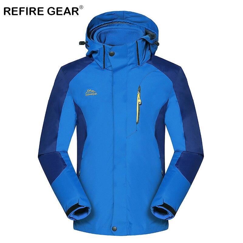 цена на ReFire Gear Autumn Warm Windproof Waterproof Hiking Jacket Men Breathable Thermal Hooded Outdoor Jacket Winter 3 In 1 Sport Coat