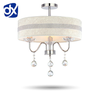 Modern European Fabric Shade LED Crystal Chandelier Light 40cm Diameter Diamond Stripes And Rose Style Optional