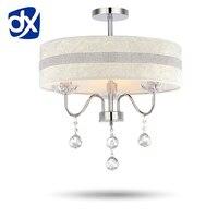 Modern European Fabric Shade LED Crystal Chandelier Light 40cm Diameter Diamond Stripes And Rose Style Optional