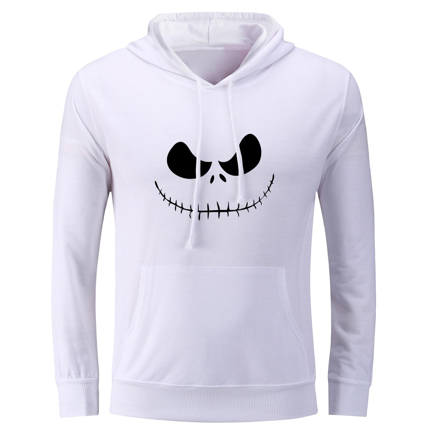 iDzn Womens Printed Hoodies The Nightmare Before Christmas Jack Skellington&Sally Halloween Casual Style Sweatshirts Tops S-3XL