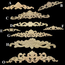 Natural Wood Appliques for Furniture Cabinet Unpainted Rectangle Carving Wooden Mouldings Decal Vintage Home Decor Decorative