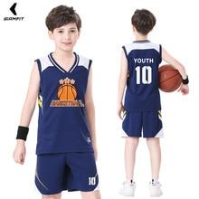 Детские баскетбольные комплекты из Джерси, комплекты униформы, дышащая Молодежная тренировочная баскетбольная форма, рубашки, детская спо...