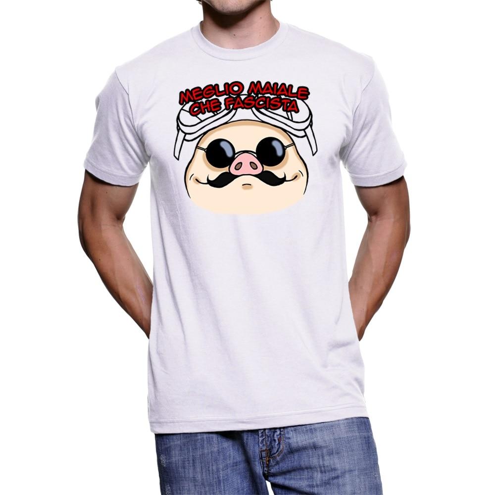 timeless design fab59 811d2 US $12.87 8% OFF|2019 Latest Men T Shirt Fashion T SHIRT UOMO PORCO ROSSO  KURENAI NO BUTA CITAZIONE FAMOSA FRASE ITALIANO MEGLI T Shirt-in T-Shirts  ...