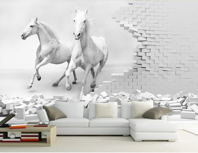 Aliexpress.com : Buy Custom 3D horse wallpaper , horse wall ...