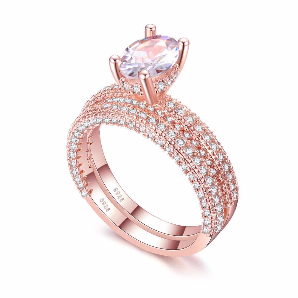 KNOCK high quality Rose Gold Double row White gold For Women Fashion Cubic Zirconia Wedding Engagement ring 1