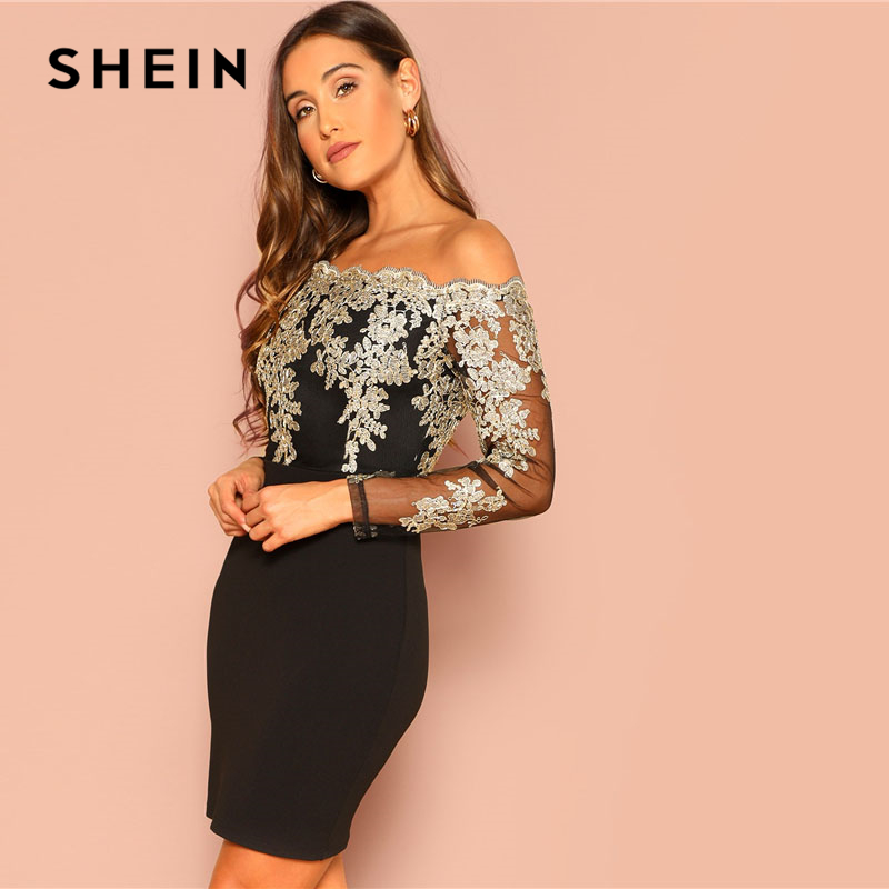 cdbd22e04d7da SHEIN Black Sexy Off the Shoulder Embroidered Mesh Bodice Bardot Bodycon  Dress Women Long Sleeve Summer Going Out Party Dresses-in Dresses from  Women's ...