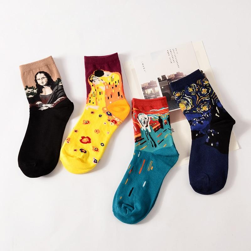 Fashion Retro Women Men Van Gogh Mural Christmas Abstract Oil Painting Mona Lisa Art Socks Funny Comfortable Breathable Socks