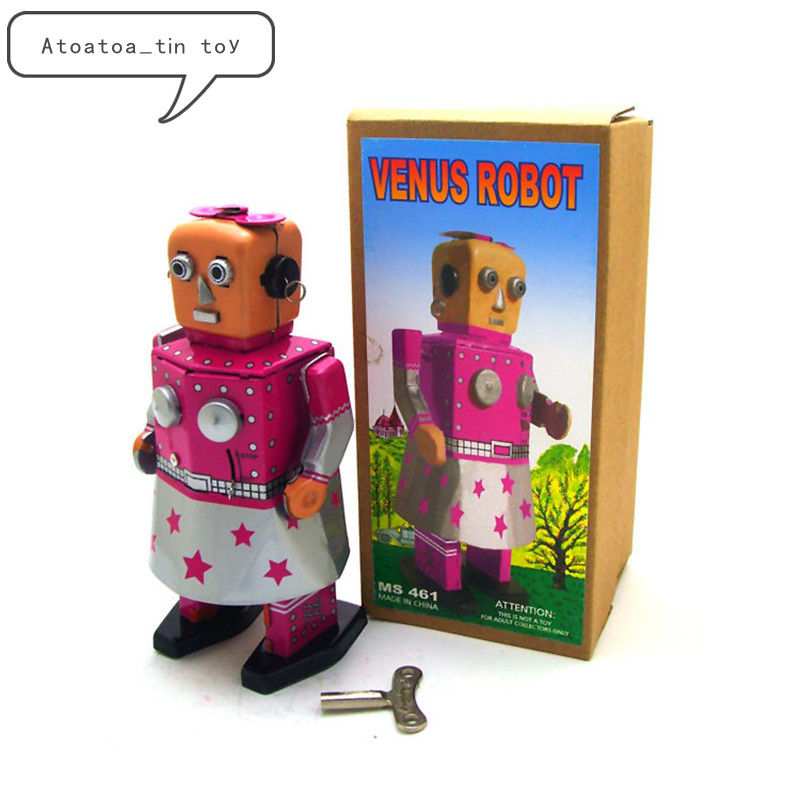 Vintage VENUS Robot Collection Tin Toys Classic Clockwork Wind Up Robot MODEL Tin Toys For Adult Kids Collectible Gift