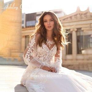 Image 3 - アシュリーキャロルaラインのウェディングドレス 2020 パフスリーブロマンチックなビーズアップリケボタン花嫁ガウンビーチ自由奔放に生きるvestidoデnoiva